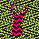 Hipster Neon Pink Deer Head Modern Green Chevron by GirlyTrend
