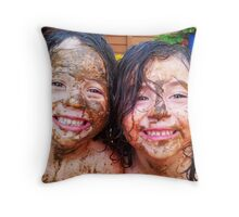 Twin Mud Fight Throw Pillow