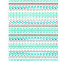 Trendy Mod Bright Teal Pink Abstract Aztec Pattern  Photographic Print