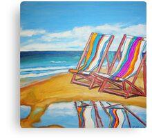 Beach Chair Reflection Canvas Print