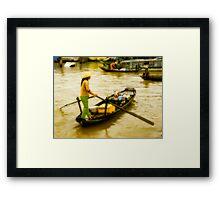 Vietnamese Floating Market Trader Framed Print