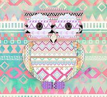 Whimsical Tribal Owl Pastel Girly Tie Dye Aztec by GirlyTrend