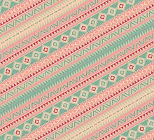 Retro Turquoise Pink Abstract Andes Aztec Pattern by GirlyTrend