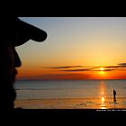 Men Watching West Meadow Beach Sunset - Stony Brook, New York  by © Sophie W. Smith