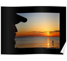 Men Watching West Meadow Beach Sunset - Stony Brook, New York  Poster