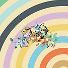 Pokemon - Eeveelution Circles iPad Case by Aaron Campbell