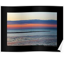 West Meadow Beach Pink Evening Sky - Stony Brook, New York Poster