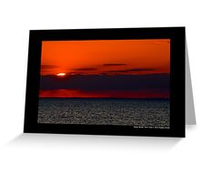 Evening Sun Hiding Behind Purple Cloud Above Long Island Sound - Stony Brook, New York Greeting Card