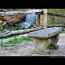 Old Bench Behind Grist Mill - Stony Brook, New York by © Sophie Smith