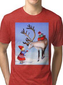 Reindeer Girl Tri-blend T-Shirt