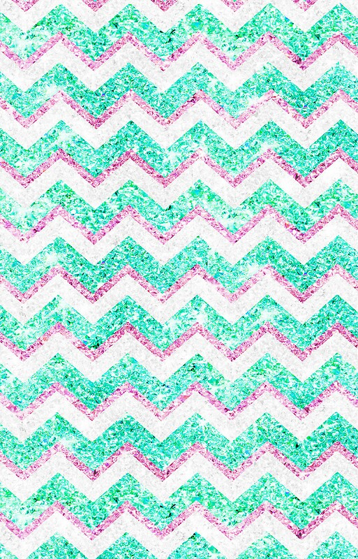 Quot Chevron Pattern Girly Teal Pink Glitter Photo Quot Iphone