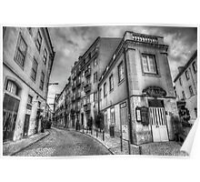 Backstreets Of Lisbon BW Poster