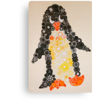 Spirograph Penguin in black, yellow and orange Canvas Print