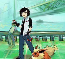 Flareon and trainer by SalvageFox