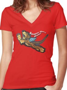 Tiger Flyer Women's Fitted V-Neck T-Shirt