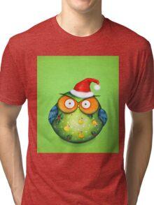 Funny Santa Owl Tri-blend T-Shirt