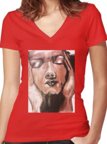 Face Painted Design Women's Fitted V-Neck T-Shirt