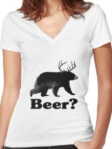 Beer? Women's Fitted V-Neck T-Shirt