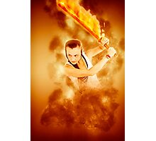 young punk teen girl wielding a flaming sword  Photographic Print