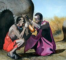 Kenyan Maasai Morans taking milk by Mutan