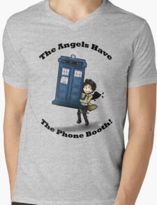Castiel Has The Phone Booth Mens V-Neck T-Shirt