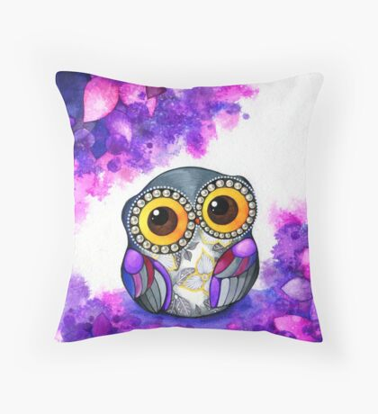 Owl in Purple Blossoms Throw Pillow