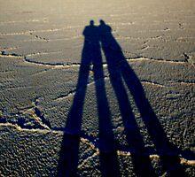 ~bonneville salt flats~father & son~tall shadow~ by wordwulf