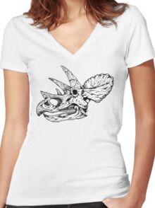 Dino Skull Women's Fitted V-Neck T-Shirt