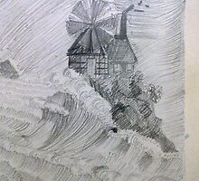 Windmill in a storm by dadlanineha