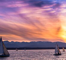 Sunset Sailing on Shilshole Bay by Jim Stiles