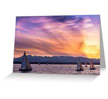 Sunset Sailing on Shilshole Bay Greeting Card