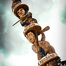 Carved Maori Pole New Zealand by mlphoto