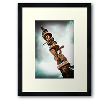 Carved Maori Pole New Zealand Framed Print