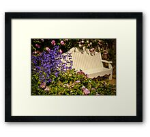 English Garden Seat Framed Print