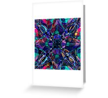 blue stained glass fractal pattern Greeting Card