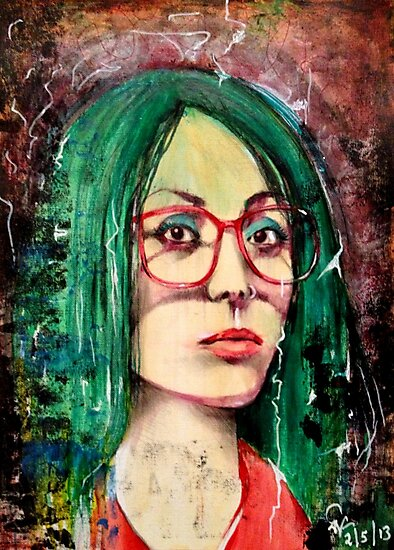 A Girl With Green Hair and Glasses by John Dicandia ( JinnDoW )