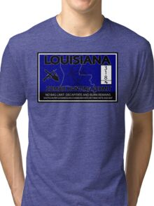 Louisiana Zombie Hunting License Tri-blend T-Shirt