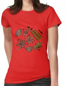 Hand drawn colored spices sketch set Womens Fitted T-Shirt