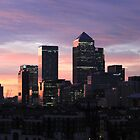 Canary Wharf at sunset by ravishlondon