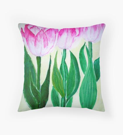 THREE PINK TULIPS Throw Pillow