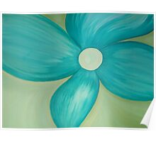 Teal Flower Poster