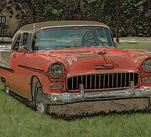 1955 Chevy Bel Air with Colored Pencil Effect by Frank Romeo