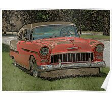 1955 Chevy Bel Air with Colored Pencil Effect Poster