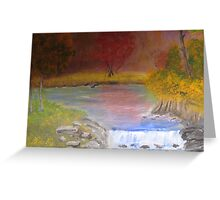 Water fall and fall colors. Greeting Card
