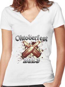 Oktoberfest Beer Bottles 2013 Women's Fitted V-Neck T-Shirt