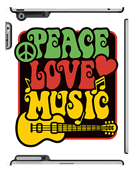 Peace, Love, Music in Rasta Colors by Lisann