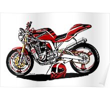 Caricature Streetfighter Motorcycle Art Poster