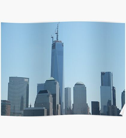 The New World Trade Center Under Construction, View from Jersey City, New Jersey Poster
