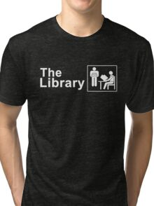 The Library Logo in White Tri-blend T-Shirt