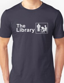 The Library Logo in White Unisex T-Shirt